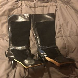 Taryn Rose high heeled boots, leather and suede